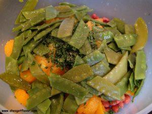 www.shesgotflavor.com mandarin orange, red beans and snow peas