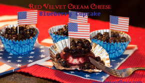Red Velvet Cream Cheese Blueberry cupcake