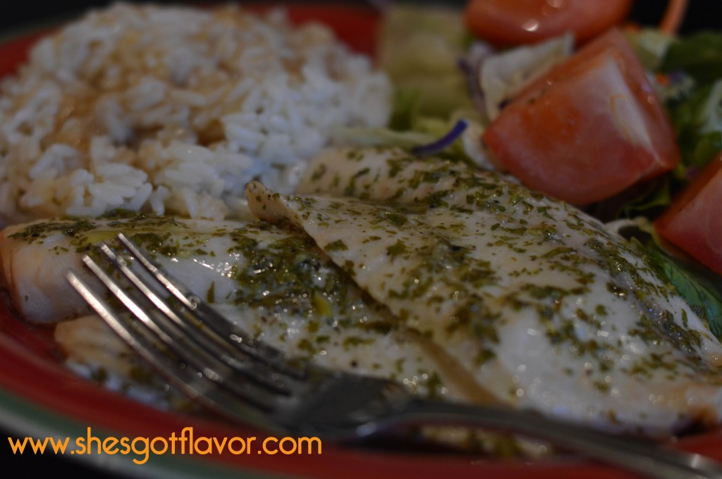 Lemon Butter Talapia with Garlic Butter Rice and Salad the Perfect Midweek Dinner