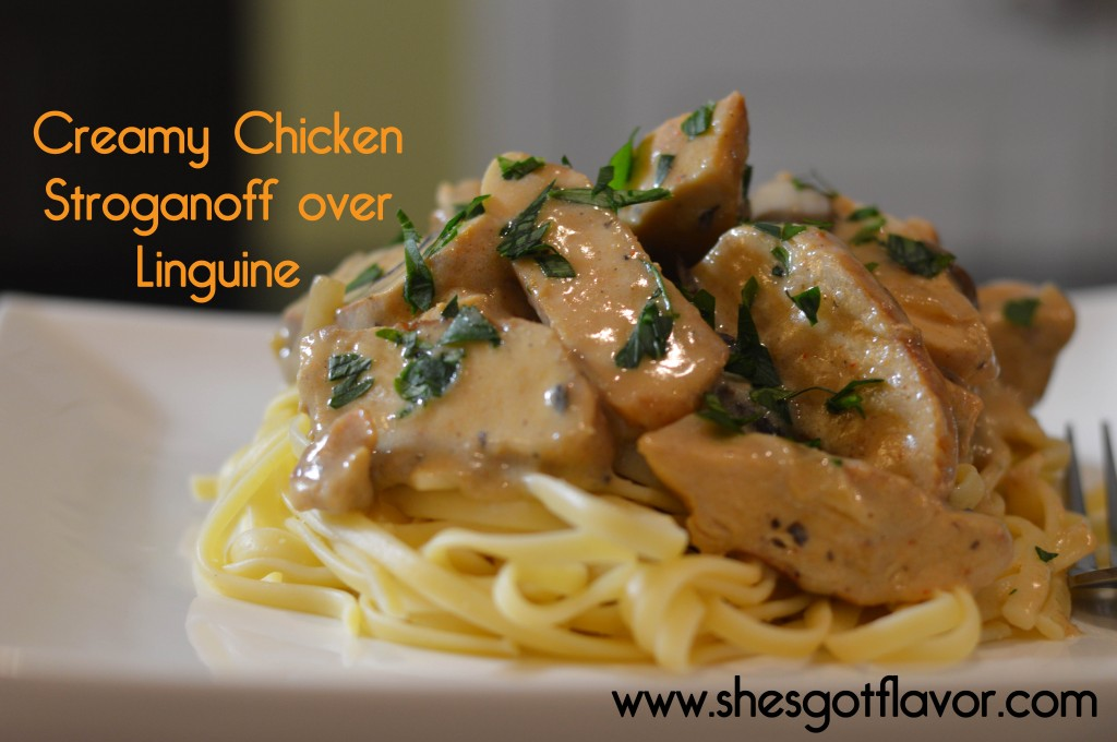 Creamy Chicken Stroganoff over Linguine | ShesGotFlavor