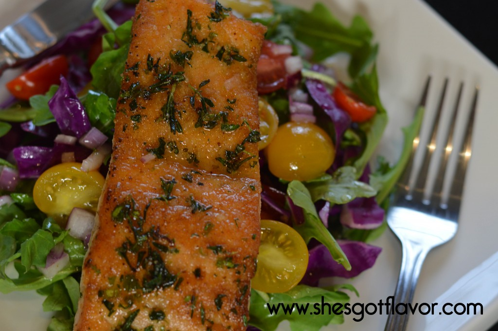 Pan Seared Salmon over Arugula Salad with Sweet Citrus Vinaigrette Dressing | ShesGotFlavor