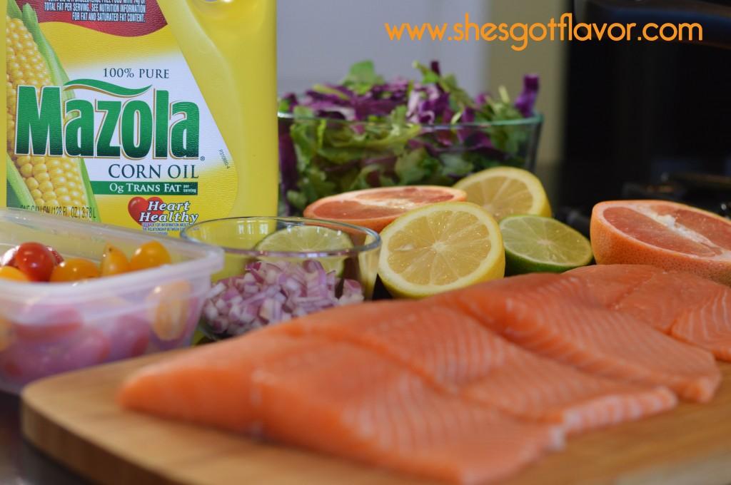 Pan Seared Salmon over Arugula Salad with Sweet Citrus Vinaigrette Dressing   ShesGotFlavor