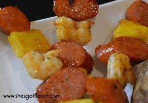Apricot Grandmarner Glazed Shrimp and Andoule Sausage Kabobs and Baked Potato Finger Lickin