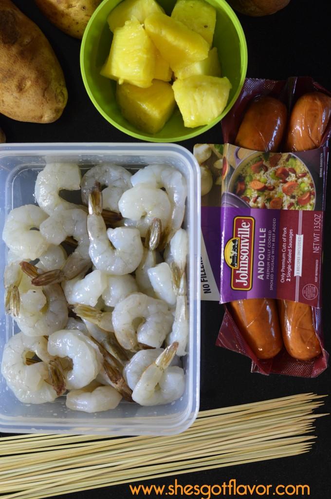 Shrimp & Andouille Sausage Kabobs with Apricot Grand Marnier Glaze & Baked Potato | ShesGotFlavor