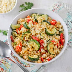 Parmesan Couscous with Zucchini and tomatoes | Jehan Can Cook
