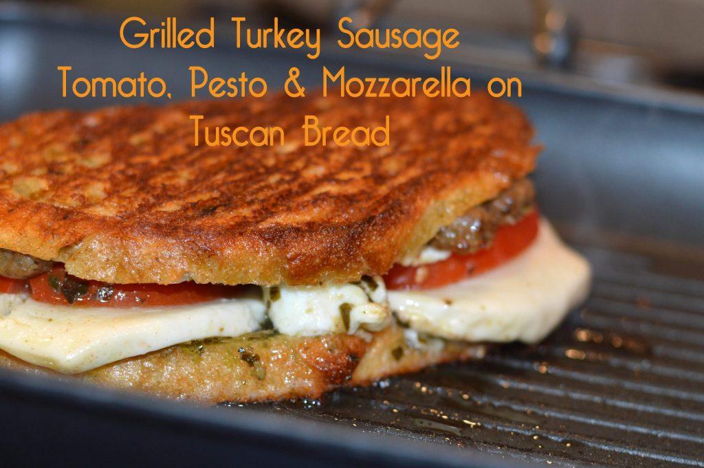 Grilled Turkey Sausage Tomato Pesto and Mozarella Feature 1
