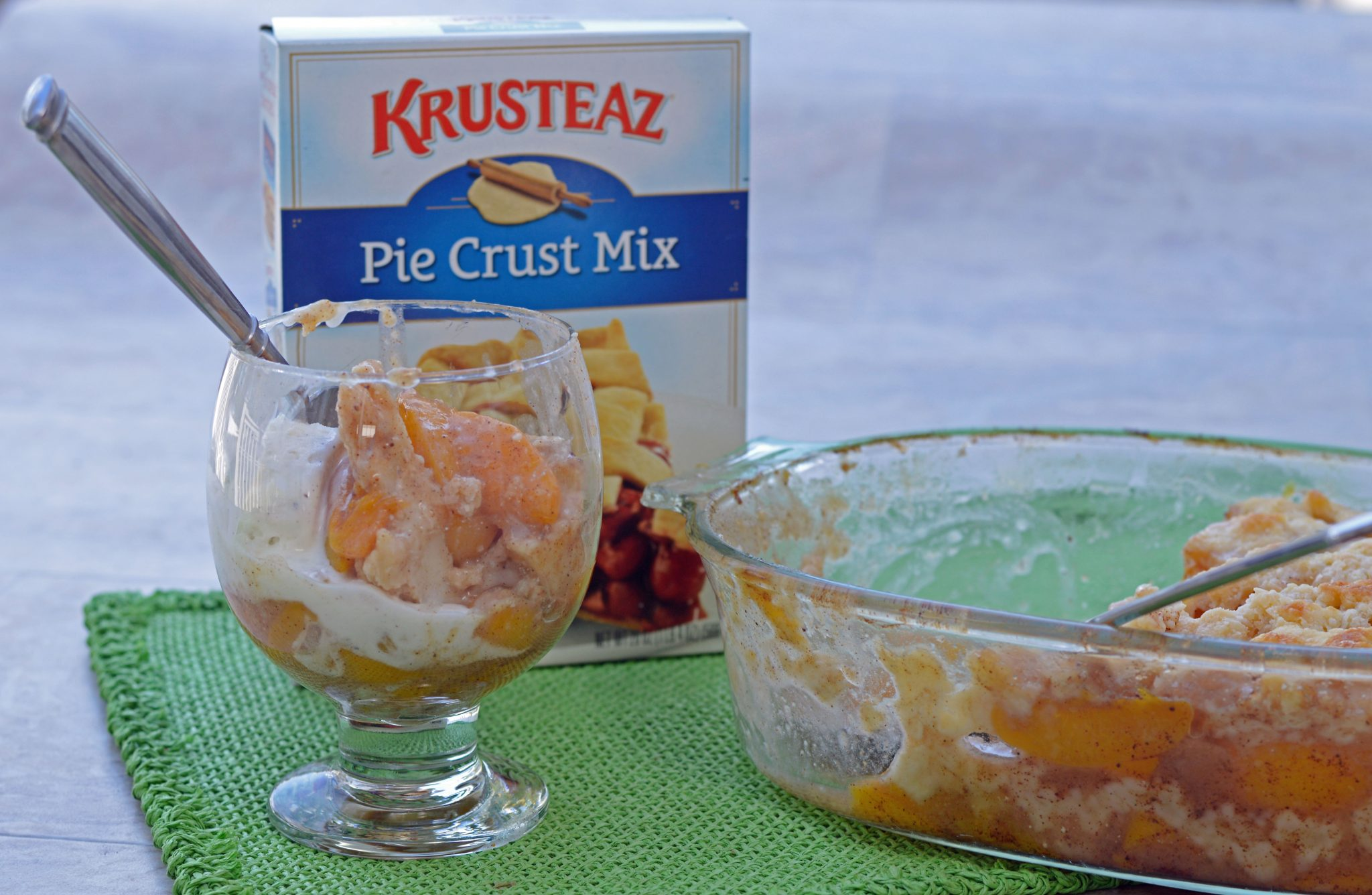 The Best Layered Peach Cobbler Ever with Box